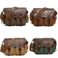 Wholesale leather laptop bags for women - Canvas Messenger Bag for Men and Women Messenger Bag Vintage Canvas Leather Military Shoulder Laptop Bags Free Shipping G165S