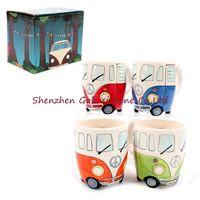 Wholesale Milk Retro - Hot Cartoon Double Decker Bus Mugs Hand Painting Retro Ceramic Cup Coffee Milk Tea Mug Drinkware Novetly Gifts