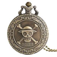 наручные часы магазин оптовых-Dropshipping One Piece тема череп шаблон старинные кварцевые карманные часы для GirlBoy старинные бронзовые Fob часы с ожерельем