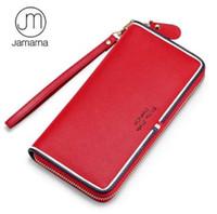 rote weiße blaue brieftasche großhandel-Jamarna Geldbörse aus echtem Leder Brieftasche Frauen lange Zipper Frauen Geldbörse klassische rot weiß und blau lange Kupplung Brieftasche Telefon weiblich