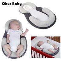 almohada antirruido recién nacido al por mayor-Almohada de cama de bebé de alta calidad para recién nacido bebé posicionador de sueño infantil Prevenir la forma de la cabeza plana Almohada antivuelco