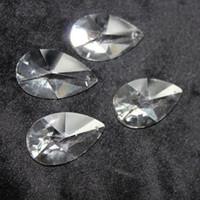 lustre cristal lâmpada partes venda por atacado-20 pcs Limpar K9 Crystal Glass Pear Forma Prisma Peças Da Lâmpada Do Candelabro Prismas Pendurado Suncatcher Drops Pingente
