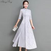 mujeres de seda qipao al por mayor-2018 mujeres del verano elegante retro tradicional chino vestido de algodón de seda cheongsam señora de la boda diseño casual qipao CC553