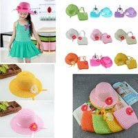 Wholesale girls sunhats - 9 colors Sunflower cap Children flower sunhat baby girls Casual Beach Sun Straw Hat+Straw Handbag 2pcs set for kids GGA411 60sets