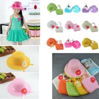 Wholesale crochet babies hat - 9 colors Sunflower cap Children flower sunhat baby girls Casual Beach Sun Straw Hat+Straw Handbag 2pcs set for kids GGA411 60sets