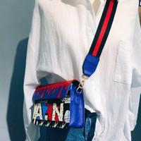 Wholesale navy pocket squares online - 2018 New Women s Fashion Graffiti Printing Square Color Wide Shoulder Strap Shoulder Bag Messenger Bag