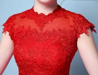 ingrosso retrò modelli di vestiti corti-Red New Short Sleeve Abiti da sposa Flower Pattern Sexy Backless Luxyry Rode Be Mariage Vestido