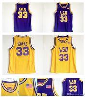 Wholesale tiger sleeveless shirt - Shaq Shaquille O'Neal Jersey LSU Tigers Jersey Shaquille O Neal College Basketball Jerseys Yellow Purple Sports Shirt Top Quality