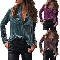 Wholesale women velvet blouse - Women Velvet Blouse Shirt Long Sleeve Warm Button Down Female Shirts Tops Velvet Blouse Long Sleeve Button Down Shirt KKA3818
