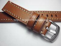 кожаные наручные часы оптовых-Handmade High-end man Retro 18 19 20 21 22mm 100% Calf Leather Watch band Watch Strap with Genuine Leather Straps Free shipping