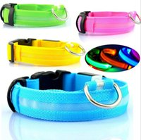 Wholesale led glow dog collar for sale - 7 Colors Nylon LED Pet Dog Collar Night Safety Flashing Glow In The Dark Dog Leash Lead Tools Training Collars Dog Pet Supplies