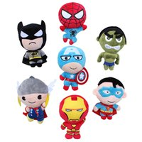 "Wholesale coffee america - New arrival 7 Style 8"" 20cm The Avengers Captain America Spider-man Thor Iron man Hulk Superman Plush Doll Stuffed Toy For Baby Gift"
