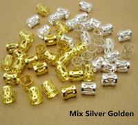 dreads clip achat en gros de-100pcs / lot doré / argent / mix argent doré cheveux dread tresses dreadlock perles clip de manchette réglable environ 7.5mm trou