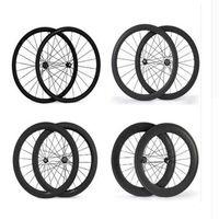 Wholesale 26 Rear Bicycle Wheel - 700C 24mm 38mm 50mm 60mm 88mm Clincher Tubular 23mm Width 3K Carbon Wheels Road Bike Bicycle Wheel Racing Touring Wheelset