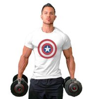 Wholesale Black Fitness Models - Europe and the United States men's fitness sports cotton Captain America printing burst models T-shirt