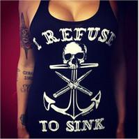 Wholesale sexy skull tank tops - Tops I Refuse to Sink Tank Tops Women Black Skull Print Tank Top Sexy Top Shirt Plus Size S-5XL