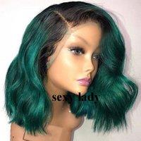 dalgalı saç satışı toptan satış-Ucuz satış 14 inç ombre yeşil kısa bob peruk 360 Dantel Frontal Peruk doğal dalgalı Dantel Ön sentetik Peruk Bebek Saç Ile