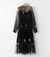 Wholesale sexy black dresses stars for sale - The new European and American vintage fashion women s dress two piece set of pentagram star embroidered dress