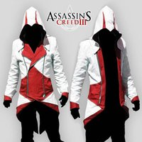 ingrosso assassin hoodie plus size-Assassins Creed Costume Cosplay Conner Kenway Hoodie Jacket Tuta Novità Felpa Hoody Plus Size Cloak Jacket Men