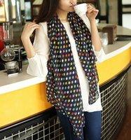 schalkorea-stil groihandel-100% silk Korea-Art und Weiseart Neuer Ankunftskorea-Artherbstwinter bunter runder Punktchiffonschal