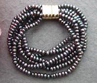 hermosa pulsera de perlas negro al por mayor-B130517 ¡Hermoso! Pulsera 6Strands Black Pearl
