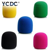 ingrosso copertura in gomma piuma-1 pz Multi colore palmare Stage Ball forma Microfono parabrezza schiuma copertura mic karaoke dj 7x3.5 cm di alta qualità
