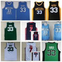 Wholesale dream school - Vintage 7 33 Larry Bird Jersey 1992 USA Dream Team One High School Springs Valley Indiana State Sycamores College Bird Basketball Jerseys