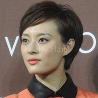 cabelo cortado chinês cabelo venda por atacado-Pixie Cut curto peruca chinesa virgem cabelo corte nenhum laço humano Bob cabelo perucas com cabelo do bebê
