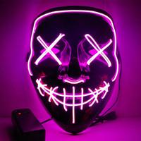 ağız led ışıkları toptan satış-2018 yeni sıcak serin ışık LED maske yanıp kafa braid cadılar bayramı cosplay parti EL tel yarık ağız Hayalet maskeleri için Tüm azizler 'gün