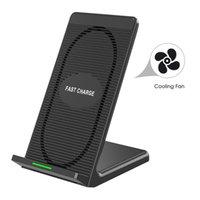 apfel iphone steht großhandel-10 watt qi wireless-ladegerät für iphone x 8 plus samsung s9 s8 note 8 xiaomi telefon schnelle drahtlose ladestation dock station fan