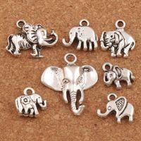 Wholesale elephants charms - 140pcs lot Mix Elephant Charm Beads Antique Silver Pendants Fashion Jewelry DIY MIC LM53 Hot sell