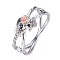 Discount gothic crosses - New Popular Silver Cross Skull Rose Flower Ring for Women Gothic Engagement Wedding Party Punk Jewelry Ring