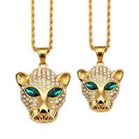 colar de jóias cabeça leopardo venda por atacado-2018 cabeça de leopardo animal olhos verdes colar de pingente de ouro titanium aço grande e pequeno tamanho de cristal strass moda jóias