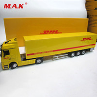Wholesale diecast toy trucks online - Diecast Alloy Metal Car big Container Truck Scale Express DHL Truck Model Car styling Transporter Kids Toys Chirstmas gift