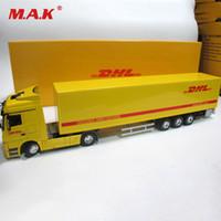 ingrosso lega espressa-Diecast in lega di metallo auto grande contenitore camion in scala 1:50 espresso DHL camion modello auto-styling trasportatore per bambini giocattoli regalo di Natale