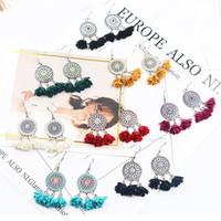 Wholesale cloth chandeliers - 8 Colors Fashion Cloth Flower Petals Earrings Boho Tassel Earrings Hoop Dangle EarDrop Retro Floral Pendant Ear Earring For Ladies G963R