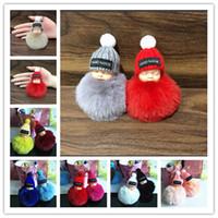 kürklü bebek toptan satış-Sevimli Uyku Bebek Bebek Anahtarlık Ponpon Tavşan Kürk Topu oyuncak Anahtarlık Araba Anahtarlık Anahtarlık Kolye öğrenciler için schoolbag tatil hediyeler