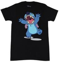 chemises junior bon marché achat en gros de-Lilo Stitch Filles Juniors T-Shirt - Bras Ouvert Big Mouth Image Mode Hommes À Manches Courtes Pas Cher Vente O Cou T-Shirt Livraison Gratuite