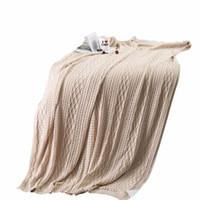 ingrosso biancheria bianca in corallo-Coperta in maglia di stile moderno semplice coperta di colore solido bianco Cotone 130x160cm Dimensioni coperta Manta Coral divano / divano letto