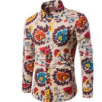 Wholesale flax dress xl - Brand Clothing Fashion Print Shirt Male Flax Casual Dress Shirts Slim Fit Turn Down Men Long Sleeve Men S Hawaiian Shirt Big Sizes