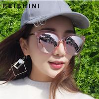 moda óculos korea venda por atacado-FEISHINI Marca Branco Quadro Oval Polarizada Óculos De Sol Das Mulheres Moda UV Protector HD Lens de Condução óculos Coréia Espelho Feminino ROSA