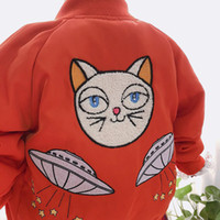 Wholesale kids girls jacket design for sale - Ins kids clothing jacket for girls cotton padded clothes embroidered cat design autumn and winter kids casual zipper jacket