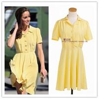 mismo kate middleton vestidos al por mayor-2018 verano Kate Middleton Europea mismo dulce vestido de una sola pieza Breasted manga corta amarilla a medida vestido de princesa de cuello de las mujeres