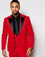 en iyi elbise yelek erkekler toptan satış-En İyi Tasarım Kırmızı Damat Smokin Siyah Tepe Yaka Bir Düğme Groomsmen Mens Düğün Elbise Popüler Adam 3 Parça Suit (Ceket + Pantolon + Yelek + Kravat) 2