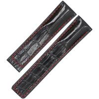 ingrosso cintura di alligatore nero-Cinturino cinturino in vera pelle di alligatore coccodrillo fatto a mano Cinturino cinturino in pelle 22mm nero + rosso cinturino senza fibbia