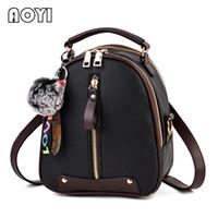 arka çanta küçük toptan satış-Aiyiy mini kadın çantaları kadın sırt çantası moda pu deri küçük sırt çantası için patchwork omuz çantası genç çift kullanımlı çanta kızlar