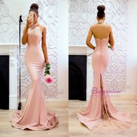 Wholesale Sexy Mermaid Halter Wedding - 2018 New Mermaid Halter Bridesmaid Dresses Sexy Open Back Appliques Sweep Train Long Maid of Honor Gowns Wedding Guest Dress Formal