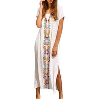ecd595f971 Fashion Women Summer Beach Swimwear Embroidered Short Sleeve Long straight  Dress Casual printed cotton Sundress ladies Dresses