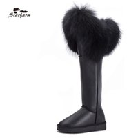 Wholesale over knee suede beige - STARFARM Shoes Women Winter Snow Boots Genuine Leather Ladies Real Fur Boots Knee High Flat Wedge Cow Suede Woman
