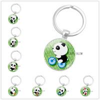 ingrosso simpatico anime panda-CALDO! Cute Panda Anime Argento Placcato Portachiavi Ciondolo Cupola di vetro rotondo Portachiavi Portachiavi Bambola regalo Anime acciaio inossidabile